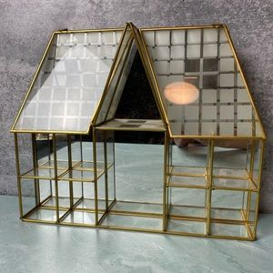 Vintage shadow box house brass & glass cabinet